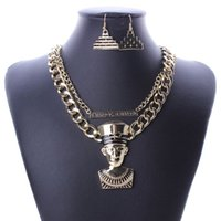 ancient egyptian pyramids - New Ancient Egyptian Pharaoh King STATEMENT Double Layer Necklace GOLD Pyramid Earrings Jewelry Set
