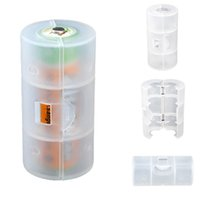 Wholesale New Best Promotion Translucent AA to C Size Battery Adapter Holder Converter Shell Cover Case