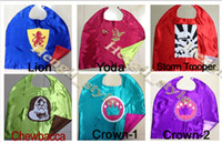 Wholesale High Quality colors Star War Kids Capes Darth Vader Yoda Storm Trooper Lion Chewbacca Crown Capes Children Party Capes