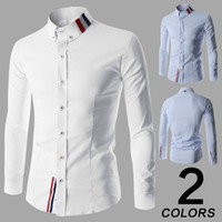 Wholesale Mens Shirt Long Sleeve Brand man Slim Fit Camisa Social Masculina Chemise Homme Solid Cotton Mens Dress Shirts Clothes