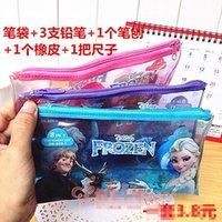Wholesale Children Stationery Frozen Cartoon Elsa Anna Pencils Eraser Pencil Sharpener Ruler Plastic Pen Bag Student Set K1954