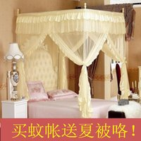 Wholesale Silks and satins mosquito net floor stainless steel tube three door overstretches thickening mount royal princess mosquito net