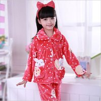 Wholesale Autumn and winter flannel pajamas for children and cartoon Tong Jiahou mink cashmere Home Furnishing suit