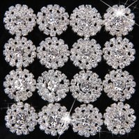 Wholesale MM EXCELLENT QUALITY Handmade Sparkle Round Alloy Rhinestone Flower Buttons For Children Hair Accessories Dress