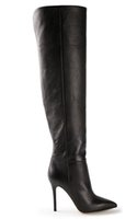 lady boot for winter - Black Knee High Boots For Women Simple Side Zip Leather Stiletto Heel CM Pointed Toes Winter Boots Ladies Shoes OL Dress Shoes Night Club