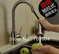 Wholesale Kitchen Deck Brass Brushed Sink Faucet Mixer Tap Swivel Pull Out Sprayer Cock Crane