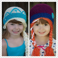 Hat - Frozen girls winter crochet caps elsa anna workmanship girl fashion hat kids stingy brim hats purple creamy white top quality