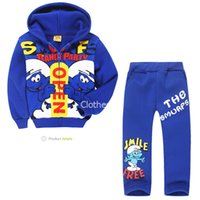 Wholesale The smurfs Hoodies Suit Children s Boys Outerwear Sweatshirts Girls Warm Clothes Jacket Coat Spiderman Batman Cars Cartoon Polo Pullover
