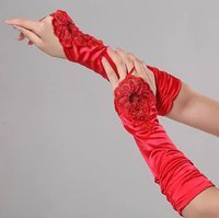 best acessories - Below Elbow Gloves FOr Wedding Bride Red Beading Sequins Fingerless Best Selling In Stock Weddng Bridal Acessories SHJ