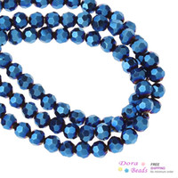 Wholesale Crystal Glass Loose Beads Ball Dark Blue AB Color Faceted mm Dia cmlong Strands approx Strand B28295