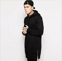Wholesale New Arrival Fleece Plus Size Hip Hop Streetwear Longline Side Zipper Hoodies Sweatshirts Men