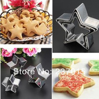 Wholesale 3Pcs Cake Stainless Steel Fondant Star Cutter Cookies Pastry Baking Mold Sugarcraft Silver