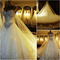 Wholesale 2016 Luxury Crystal Ball Gown Wedding Dresses Sweetheart Tulle Satin Custom Made Backless Plus Size Wedding Gowns Cathedral Train