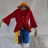 Wholesale Anime ONE PIECE Monkey D Luffy Cosplay Costumes Props Role playT Shirt Clothe Pants Hat Shoes COS10029