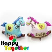 bay rock - HAPPY TOGETHER Manufacturer Pink Blue Rocking Horse New Baby Girl Bay Foil Supershape Balloon Decoration Kid Bedroom