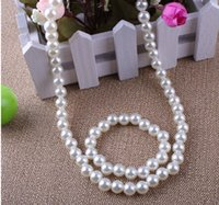 Wholesale White Pearls Kid Necklaces Jewelry Sets Elastic Long Necklace And Wrap Bracelets Charm Jewelry