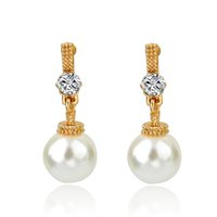 Wholesale Famous Brand Jewelry Gold Stud Earrings For Girls Austrian Crystal Imitation Pearl Earrings Vintage Women Brincos SER150031
