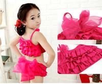 Wholesale Summer fashion cute children swimwear suits girls bathers kids swimwear tops skirt cap yrs