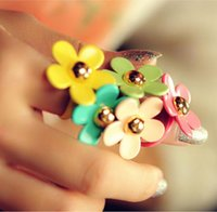 asian paint colors - rings Women New Fashion Colors Painted Cluster Rings Sweet Cute Alloy Flowers Girls Finger Rings Jewelry Drop Shipping SR1