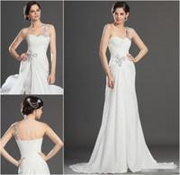 adult zip line - Pure White Long bridesmaid dresses Ruffle A Line One Shoulder Sleeveless Zip Back Floor Length Chiffon Formal Evening Dresses