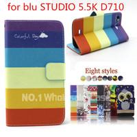 Nuevo lujo 2015 de la manera de la venta caliente para la cubierta de cuero BLU de la caja del teléfono móvil del soporte de la carpeta del tirón de la PU del ESTUDIO 5.5K D710 que envía libremente