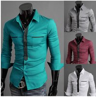 Wholesale The new men tide of han edition cultivate one s morality The double pocket long sleeve shirts