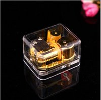 Wholesale A Acrylic Mini Transparent notes musical box golden movement Tune Spirited Away musical toys gift