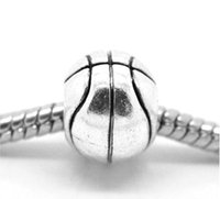 european beads free shipping - NEW Silver Tone Basketball European Charm Beads x10mm quot x3 quot