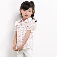 Wholesale 2016 Summer New Fashion Design Children Kids Clothes Girls Shirt Cotton Flowers Print Short Sleeve In White