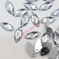 Wholesale 2000pcs set x5mm Flat Back Clear Navette Sew On Rhinestones Jewels High Quality Pro Grade Clothing Accessories