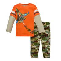 Cheap 2015 New Spring Autumn Kids Boys Suits Outfits Clothing 1-6Y Boys Clothes Sets Long Sleeve T Shirt + Camouflage Pants Children Set B2432