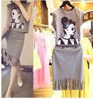 Wholesale 2Pcs Set Women Clothing Short Sleeve Pinting Tops Skirt Set Summer Lady Clothing Set Women Clothing Casual Pinting Set MEB37