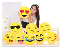 Wholesale Soft Emoji Smiley Emoticon Yellow Round Cushion Pillow funny cute Stuffed Plush Toy Dolls Christmas Present new