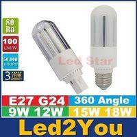Bon Marché E27 ce smd-G24 E27 led ampoules de 360 degrés haute puissance 9W 12W 15W 18W SMD 2835 Led maïs Lumières AC 85-265V CE UL CSA