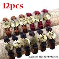 leather bracelets for men - Twelve Constellations Leather Bracelets Leather Wrap Bracelets zodiac Leather Bracelet For Men