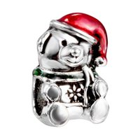 big bear blue - Christmas Charms Beads Bear Style Big Hole Loose Beads charm For DIY Jewelry Bracelet For European Bracelets DY46