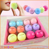Wholesale 6 Colors Round Ball D Lipstick Makeup Moisturizing lip balm Natural Plant Sphere lip Pomade lip balm Fruit Embellish lip Care