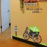 Cheap 100x80cm Fashion Wall Stickers Home Decorate Ggreen Festooned Tricycle Wall Stickers Bedroom Wall Stickers Free Shipping