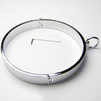 Wholesale Metal Collar Bondage Restrict Chrome plated Steel Heavy Duty Collars Male Neck Ring Thick Iron Locking Collar Mirror Polished