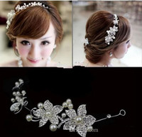 Wholesale 2014 Fashion Wedding Bridal Hair Jewelry Fancy Pearl Flower Sparkly Crystal Tiaras Hair Accessories Bridal Jewelry WX