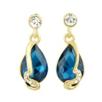 Pendant Necklaces big pendants for necklaces - Luxury Pendientes Rhinestone Big Blue Beige Water Drop Created Crystal Earrings for Wedding Brincos De Festa for Women