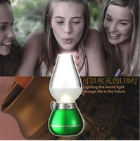 adjustable candle vintage - 2015 New LED Blow Light Table Light Desk Lamp W Vintage Kerosene Lamp Style Adjustable Brightness Energy saving Night USB Rechargeable
