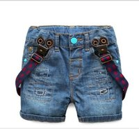 Wholesale NEW kids boy shorts jean Braces children boys jeans denim cool pants broken summer A5