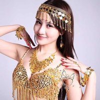 belly dance earring - Jewelry fashion style exaggerated necklace earrings bridal jewelry set Ruili multilayer India belly dance sets