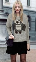 animal print - Cheap Hot High Quality Women Pullovers Animal Cute Owl Batwing Long Sleeved Sweaters Shirt Hoodies Tops One size Grey Black