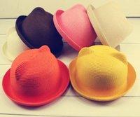 best straw fedora - New arrival Summer sunbonnet round cap cat ears straw hat fedoras Best Lady Sun Hats
