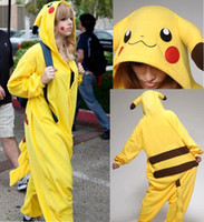 Wholesale Lovely Adult Kigurumi Pajamas Anime Yellow Pikachu New Arrivals Cosplay Costume Unisex Adult Onesie Dress Sleepwear Halloween Women Men