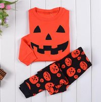baby pumpkin patterns - Free Spring baby clothing kids top pants Pumpkin pattern pajamas children clothes baby girl cotton sleepwear kids clothing set RK378782