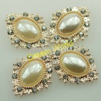 Wholesale 2 cm rose gold zinc alloy buttons oval wedding invitation charms embellishment light blue