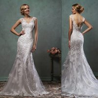 best western training - Amelia Sposa Wedding Gowns Best Western Open Back Cap Sleeves Lace Bridal Dresses Mermaid Trumpet Couture Dress For Brides